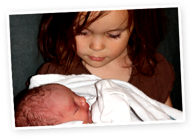 New sister with baby